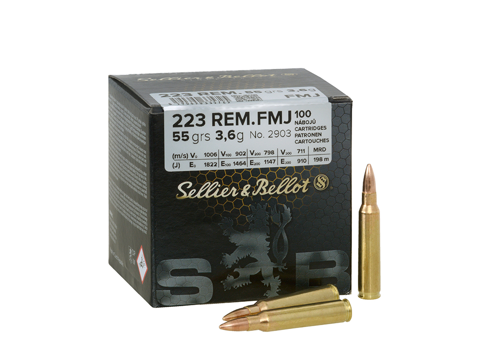 100rd  223 Remington (5,56 x 45 mm) Ammo FMJ 3,6 g/ 55 gr